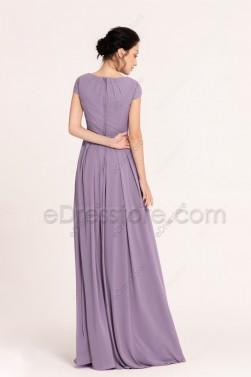 Wisteria Modest Bridesmaid Dress Cap Sleeves