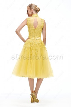High Neck Yellow Evening Dress Tea Length
