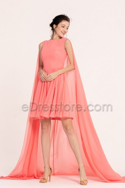 Coral Short Prom Dresses with Shoulder Train