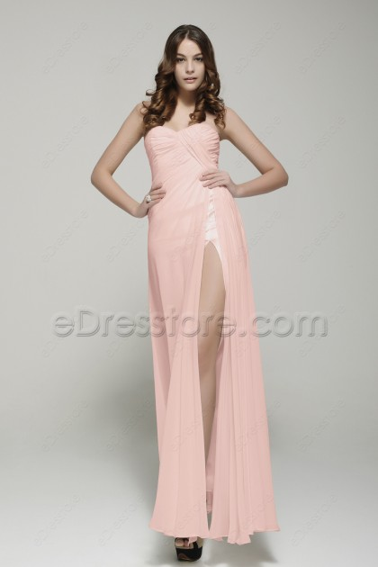 Light Pink Long Bridesmaid Dresses with Slit
