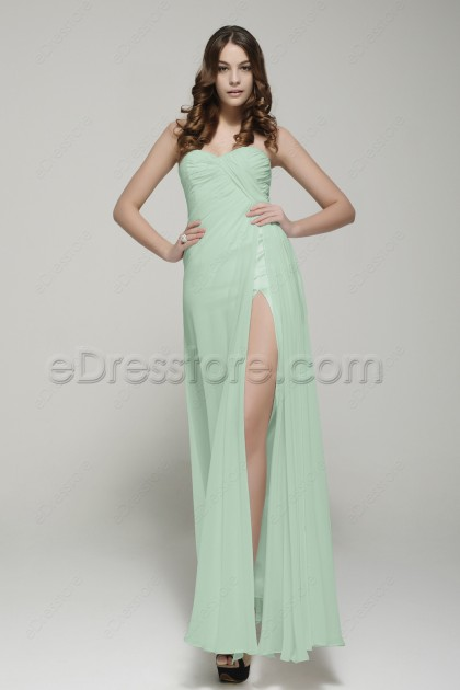 Pastel Green Maid of Honor Dresses Sweetheart Bridesmaid Dress