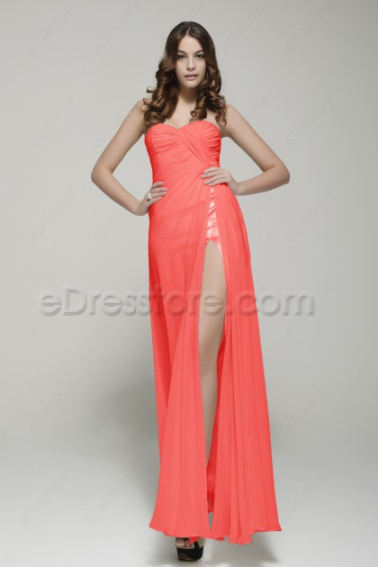 Coral Sweetheart Long Prom Dress with Slit