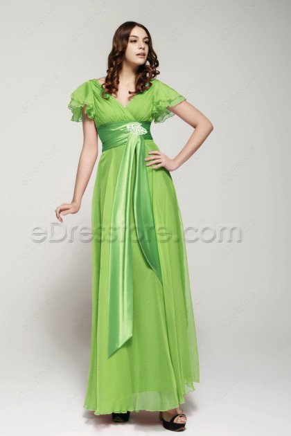 Modest Lime Green Long Prom Dresses with Sleeves