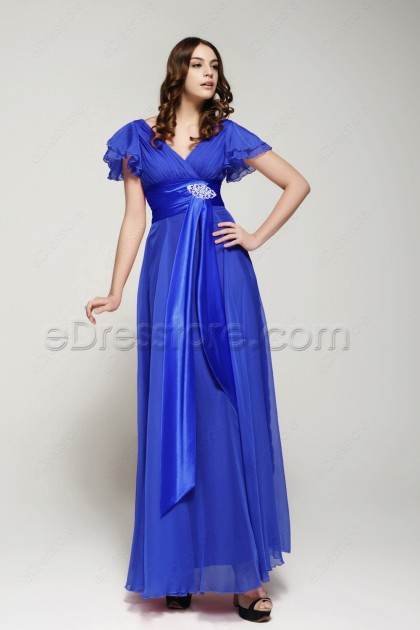 Modest Royal Blue Mother of the Bride Dress with Sleeves Plus Size