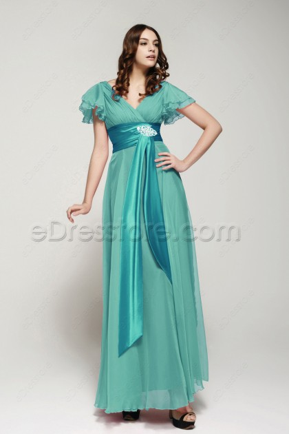 Modest Green Bridesmaid Dresses with Sleeves