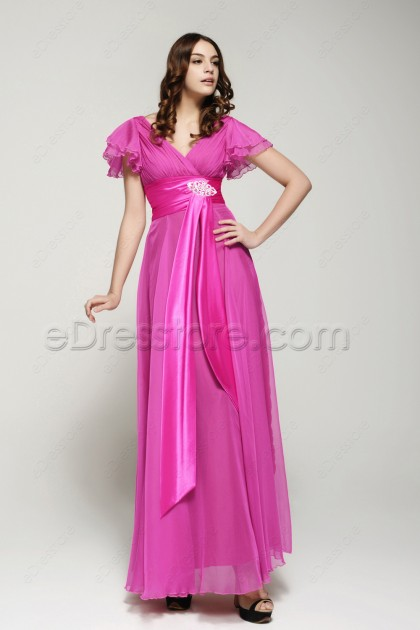 Modest Hot Pink Plus Size Formal Dress with Sleeves