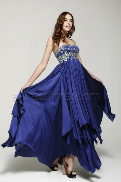 Royal Blue Beaded Evening Dresses Long