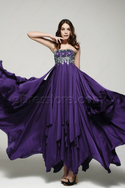 Stunning Purple Crystals Formal Dresses