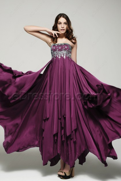 Crystals Plum Maid of Honor Dresses Bridesmaid Dresses