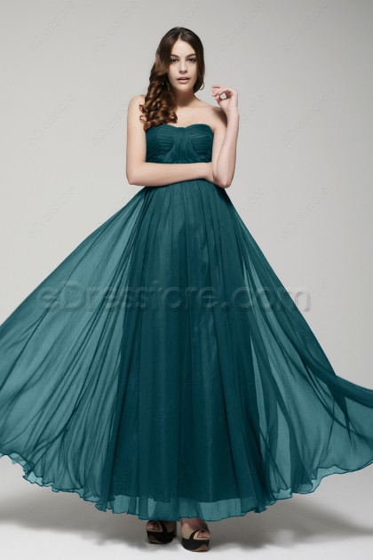 Strapless Dark Green Flowing Prom Dresses Long