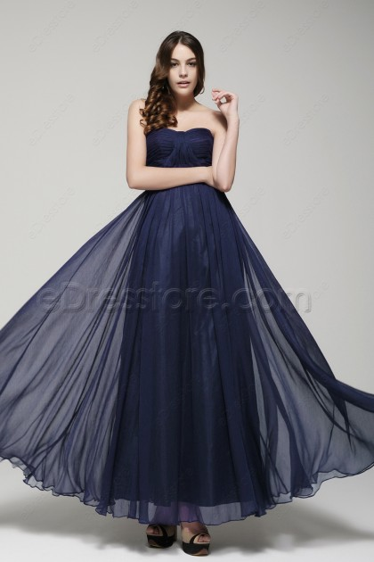 Sweetheart Navy blue bridesmaid dresses
