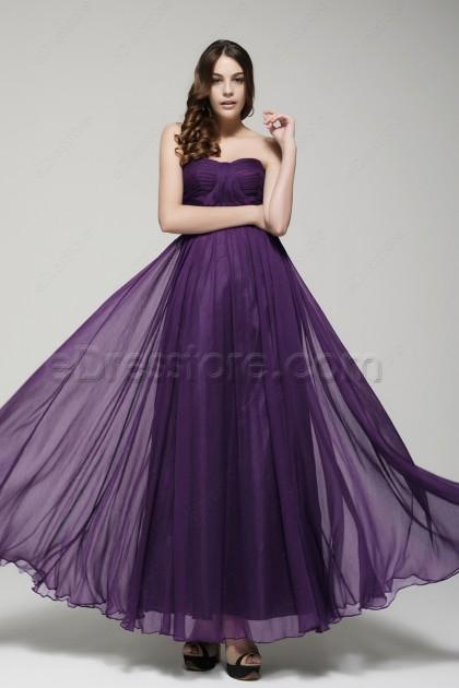 Elegant Strapless Purple Formal Dresses