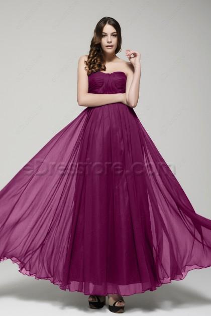 Strapless Magenta Bridesmaid Dresses