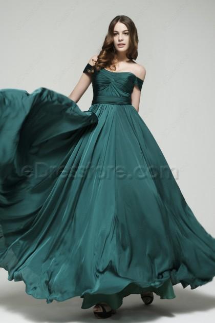 Vintage Off the Shoulder Dark Green Long Prom Dresses