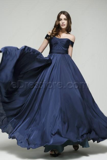 Off the Shoulder Navy Blue Prom Dresses Long