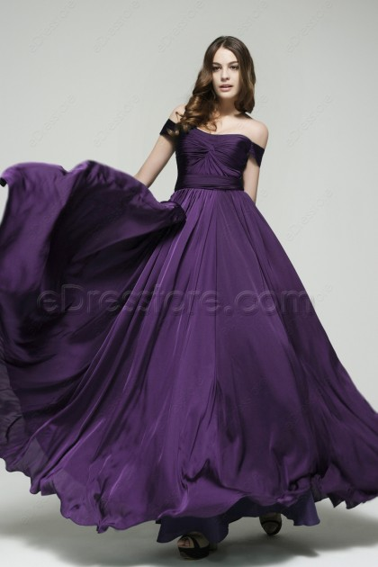 Off the Shoulder Purple Eggplant Satin Bridesmaid Dresses