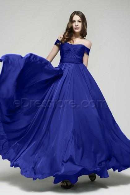 Off the Sholder Royal Blue Bridesmaid Dresses