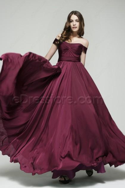 Off the Shoulder Bordeaux Formal Dresses Plus Size