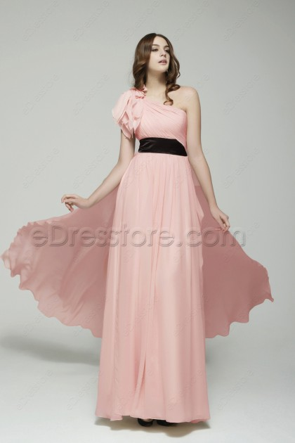 Elegant One Shoulder Pink Long Evening Dress with Train