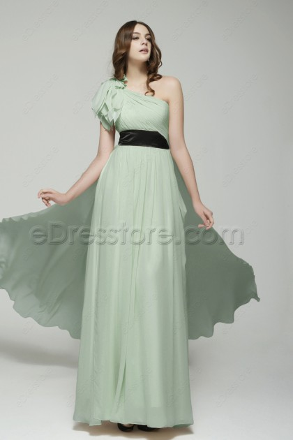 One Shoulder Pastel Green Maid of Honor Dresses