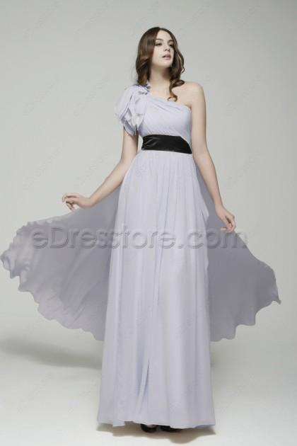 One Shoulder Light Lavender Long Prom Dresses with Train