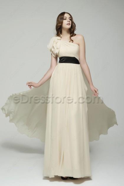Elegant One Shoulder Champagne Formal Evening Dresses