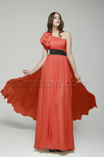 One Shoulder Coral Maid of Honor Dresses Bridesmaid Dresses