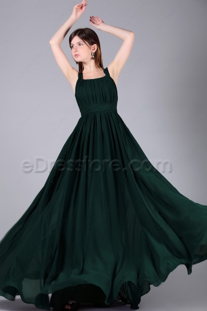 Dark Green Long Junior Prom Dresses Wide Straps