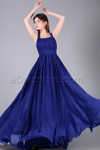 Wide Straps Royal Blue Long Formal Dresses Plus Size