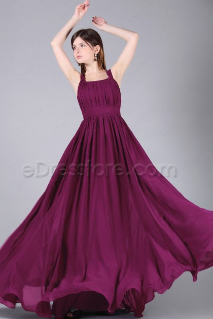 Magenta Long Bridesmaid Dresses with wide Straps