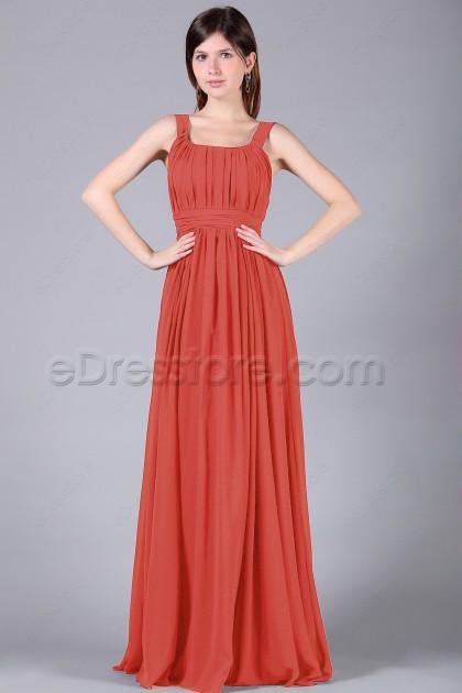 Simple Elegant Coral Long Bridesmaid Dresses Plus Size