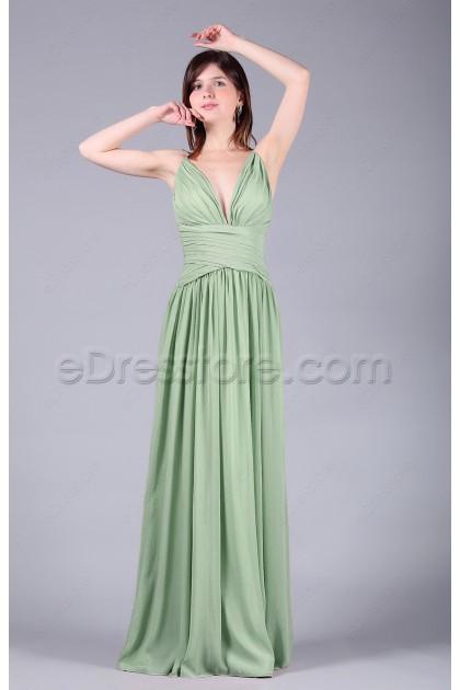 V Neck Sage Green Long Bridesmaid Dresses