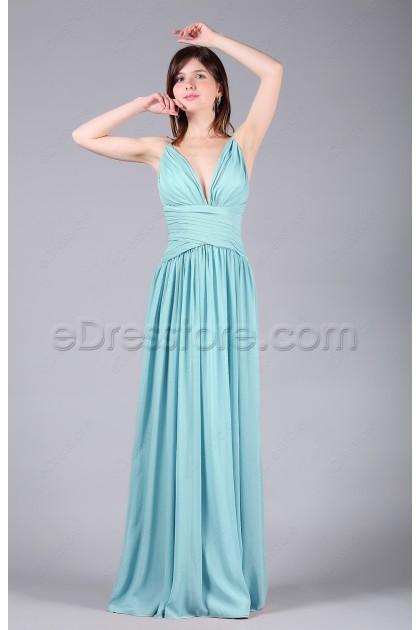Simple V Neck Light Blue Prom Dresses