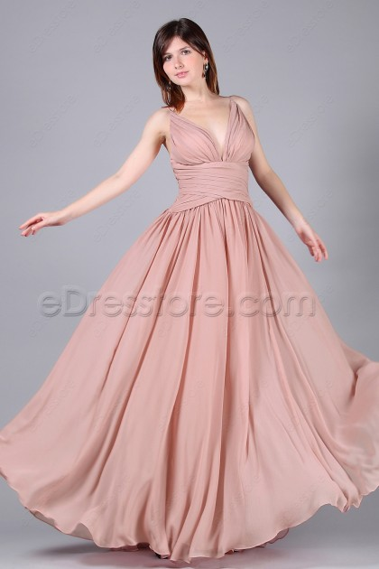 Dusty Pink Long Formal Dress Wedding Guest Dresses
