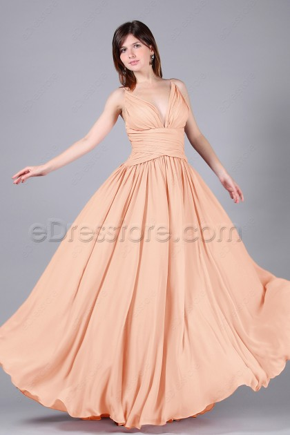Spaghetti Straps Peach Color Bridesmaid Dresses