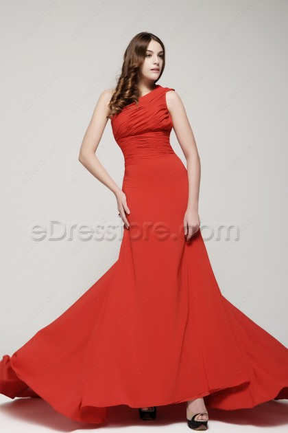 One Shoulder Red Prom Dresses Long with Train