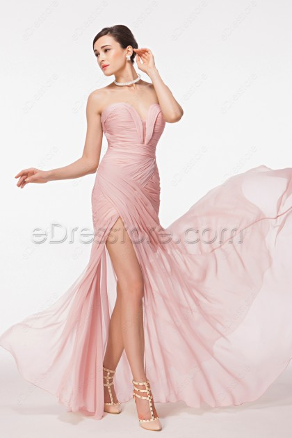 Light Pink Maid of Honor Dresses Bridesmaid Dress with Slit