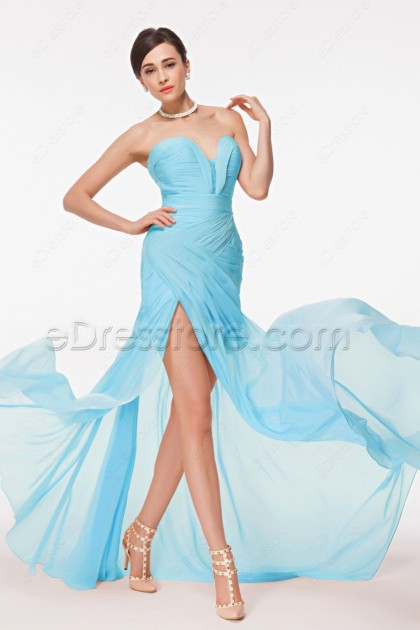 Light Blue Flowing Prom Dresses with Slit