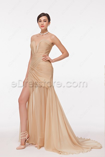 Flowing Champagne Evening Dress with Slit