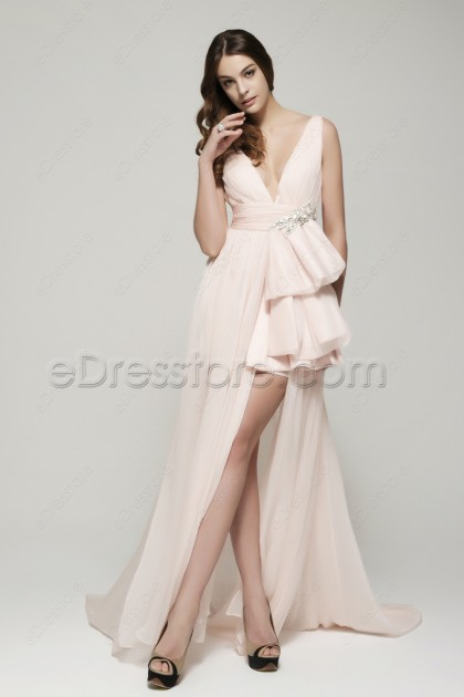 V Neck Pink Long Prom Dresses with Slit