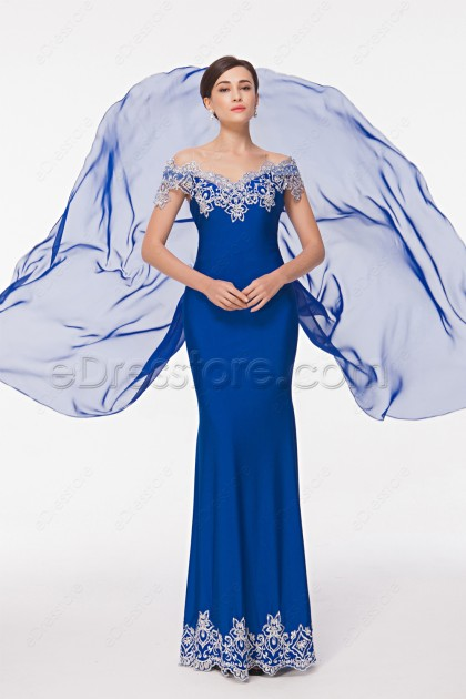 Stretchy Mermaid Royal Blue Prom Dress Silver Embroidery