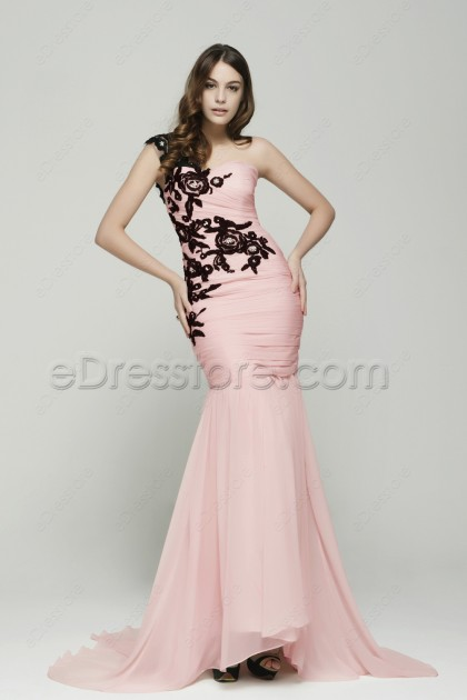 Mermaid Pink Maid of Honor Dresses with Black Lace