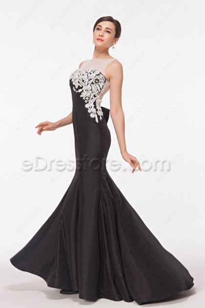 Backless Black Mermaid Prom Dresses with Crystals and White Lace