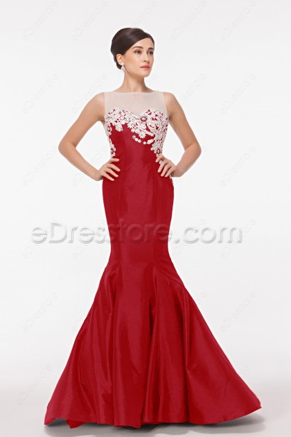 Mermad Red Backless Prom Dresses