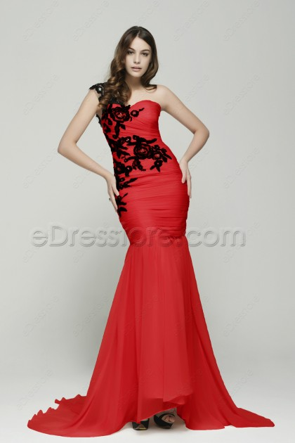 One Shoulder Mermaid Red Prom Dresses with Black Lace