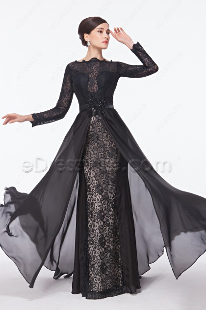 Modest Black Lace Backless Prom Dresses Long Sleeves