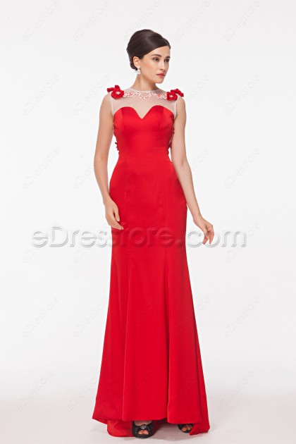 Backless Mermaid Red Prom Dresses Long