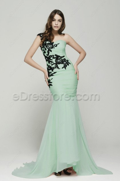 Mermaid Light Green Evening Dress with Black Lace