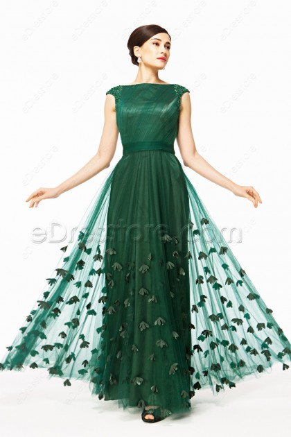 Modest Cap Sleeves Forest Green Prom Dress With Hand Sewn Flowers
