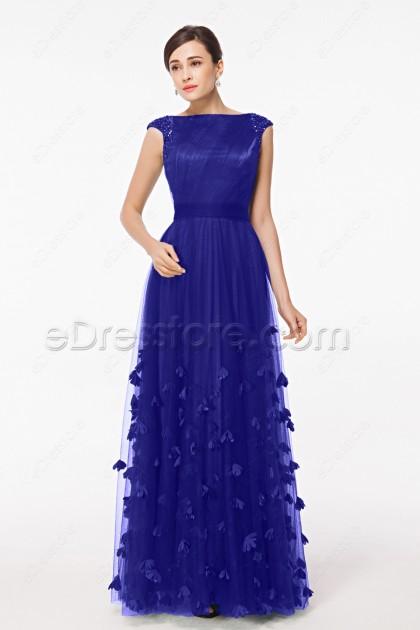 Modest Royal Blue Formal Dresses Cap Sleeves